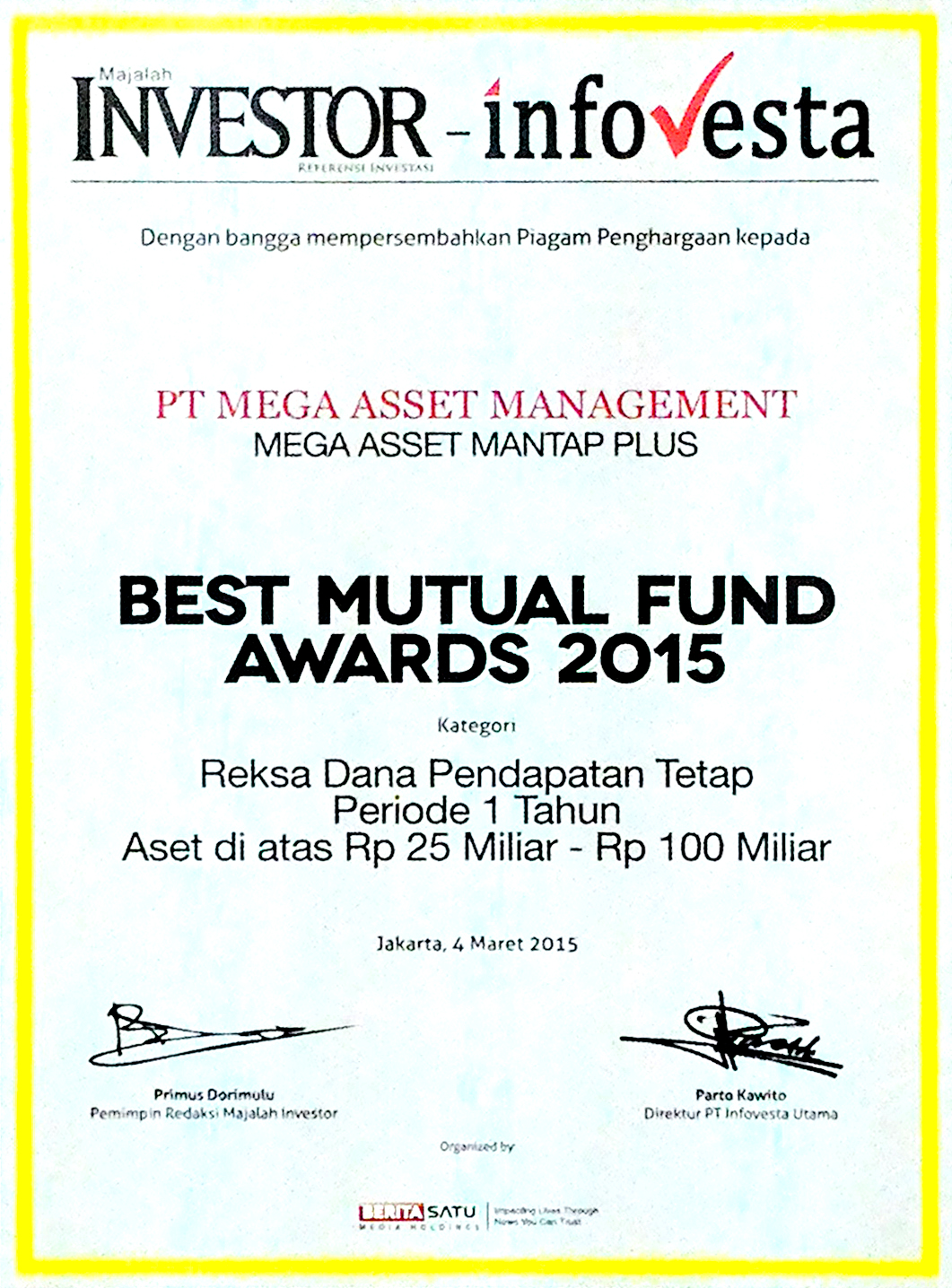 BEST MUTUAL FUND AWARDS 2015