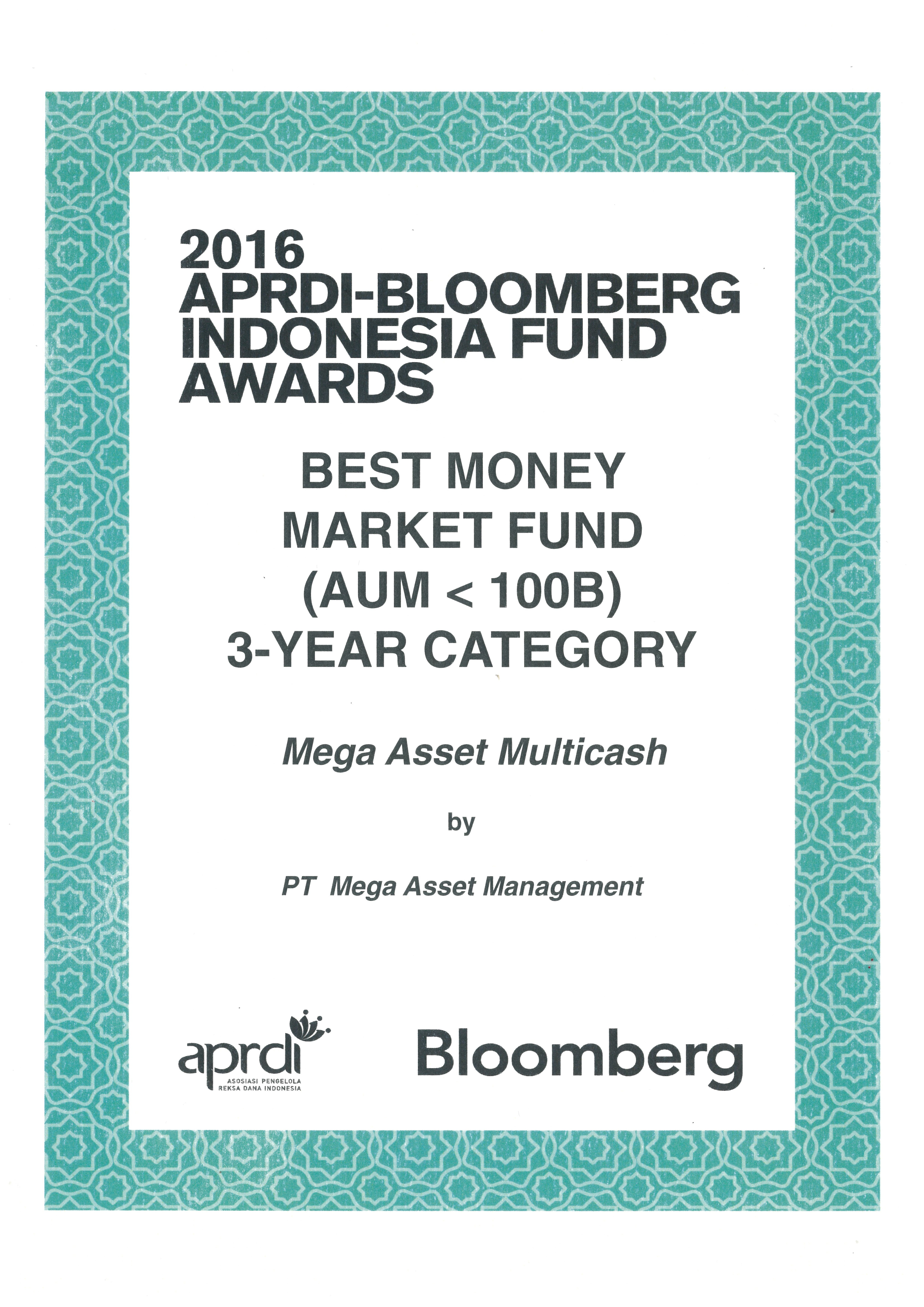 Best Money Market Fund(AUM<100B) 3 Year Award